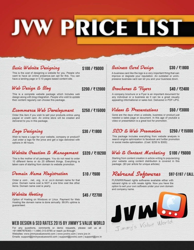 Jvw Web Design price list